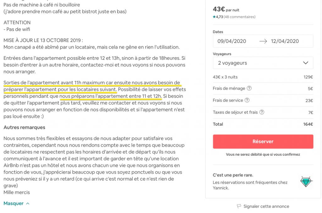 menage inclus indique dans annonce airbnb
