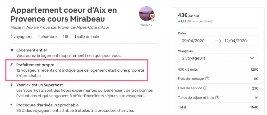 savoir si le menage est inclus airbnb
