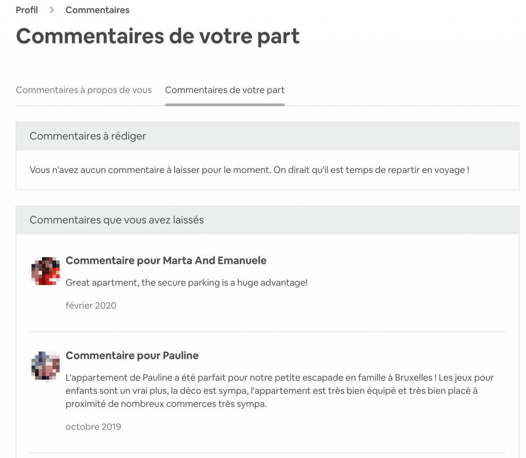 commentaires de votre part sur le site airbnb