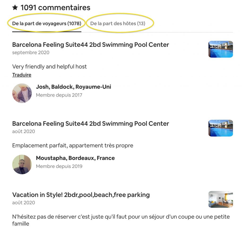 qui peut voir les commentaires airbnb
