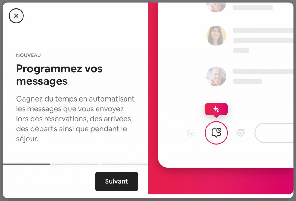 nouveau messages programmés airbnb